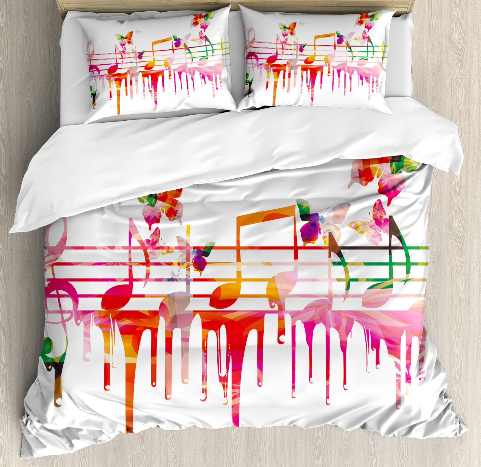 Music Decor Queen Size Duvet Cover Set by Ambesonne, Colorful Artwork Music Notes Clef Composer Orchestra Decorative Classic, Decorative 3 Piece Bedding Set with 2 Pillow Shams