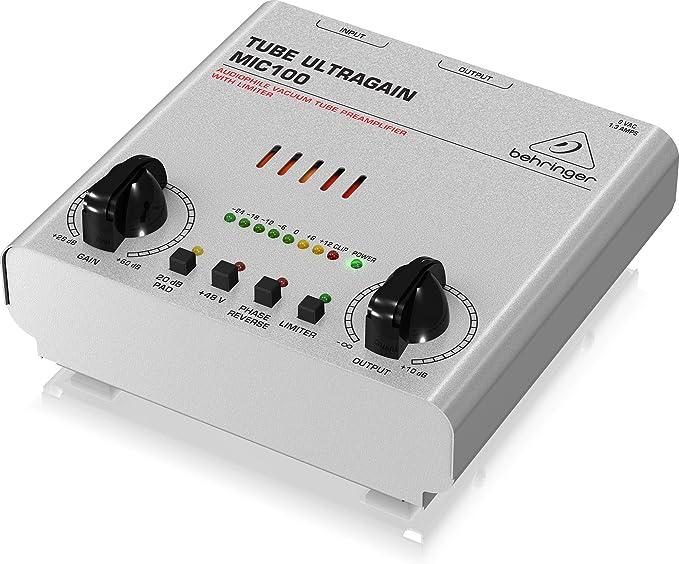 Behringer MIC100 ULTRAGAIN Audiophile Vaccum Tube Microphone Mic Preamp DI 120V