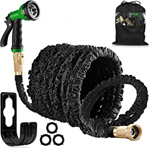 AOKUN Garden Hose 150ft Expandable Garden Water Hose Pipe with Solid Brass Fittings, Flexible Expanding Hose with 8 Function Spray Nozzle