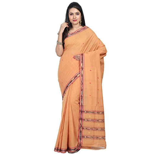 APCO (An Andhra Pradesh Govt. Enterprise) Handloom Traditional Bandar Cotton Saree For Women Without Blouse Piece GOLDENYELLOW