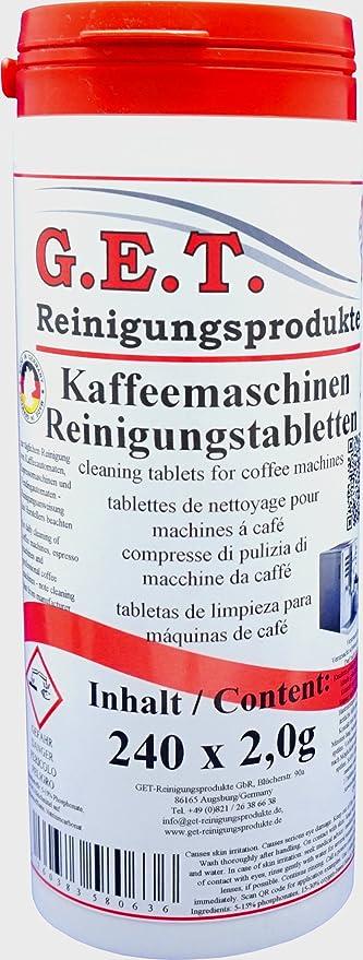 GET tabletas especiales de limpieza de 240 x 2,0 g para máquinas de café