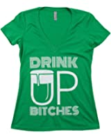 Drink Up, Bitches! | Funny St. Patrick's (Paddy) Day Ladies' Green Deep V-neck