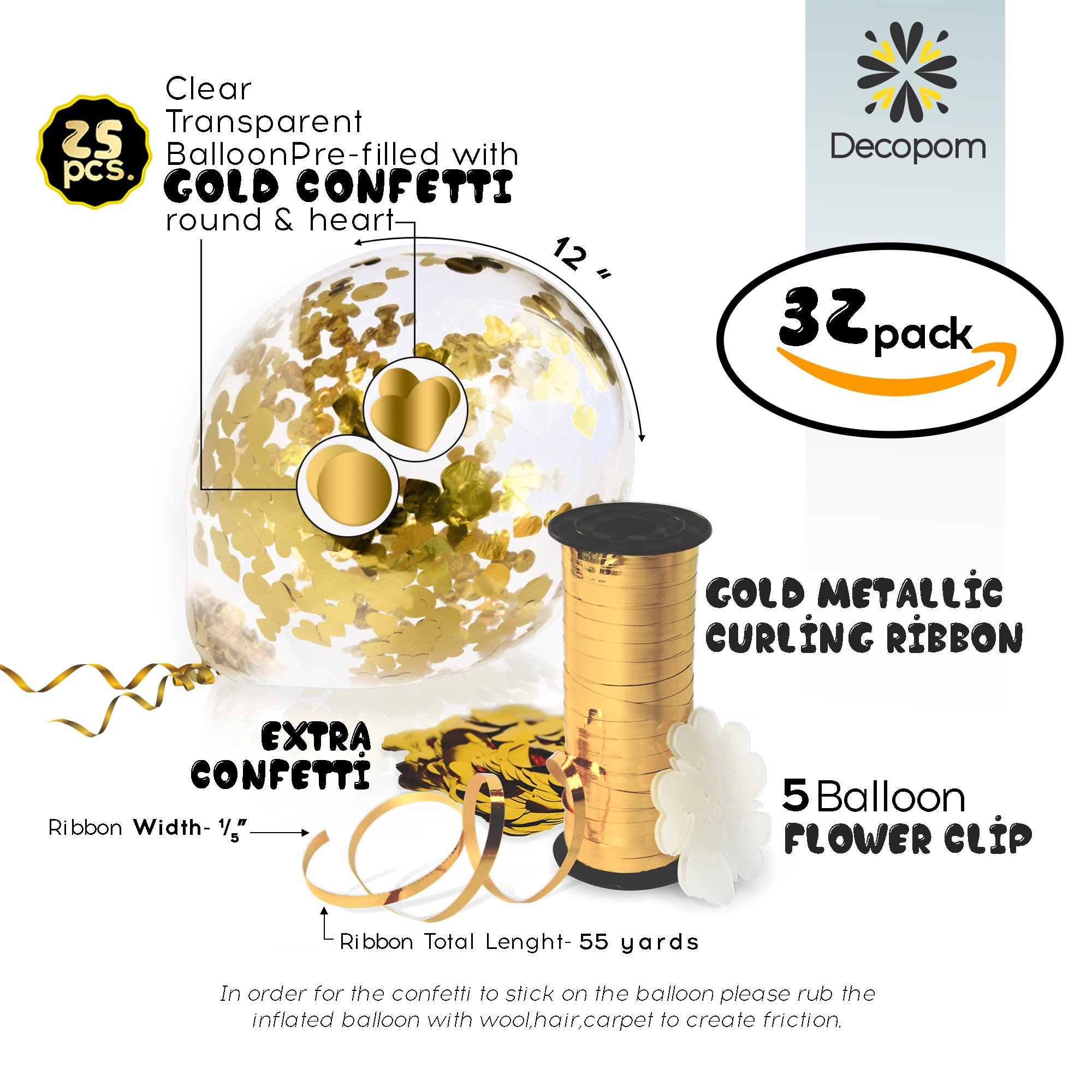 Decopom Gold Confetti Balloons Curling Ribbon Roll & Flower Clips 32 Pack | Premium 12 Inch Latex Party Balloons - Filled Round Golden Mylar Foil Dot Confetti Birthday, Wedding, Proposal by Decopom (Image #2)