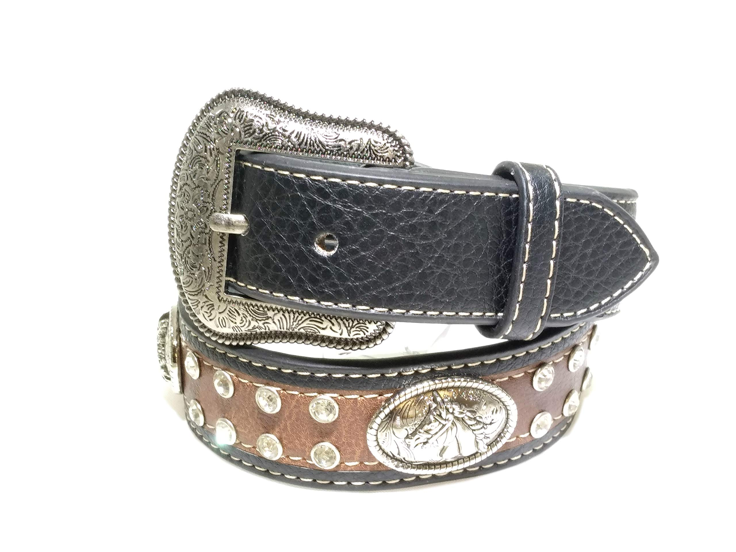 Kids Western Belts with Rhinestone Tooled Leather (Brown-Black, Medium)