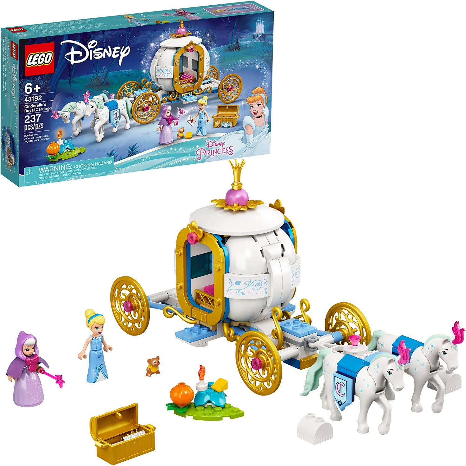 LEGO Disney Cinderella's Royal Carriage 43192; Creative Building Kit That Makes a Great Gift, New 2021 (237 Pieces)