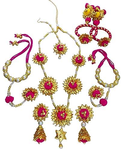 1e0b2d4786 Blent#63 Pink Gota Patti Flower Ghungroo Jewellery Set for  Women/Kids/Girls/Bride/Bridal/Wedding/Haldi/Mehandi (Handmade Light Weight  Rajasthani Fashion ...