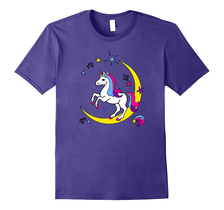 Birthday Girl Unicorn T shirt Color Rainbow Moon T Shirt-T-Shirt
