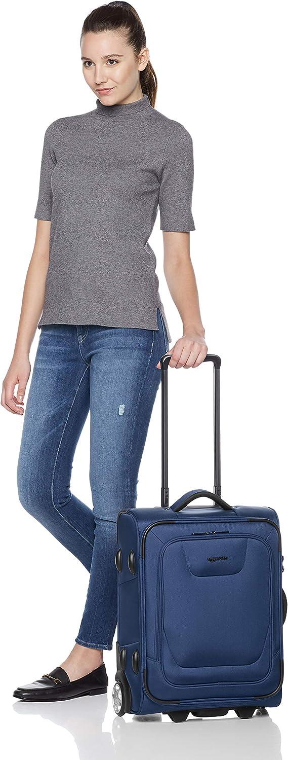 48 cm Bleu Basics Valise cabine extensible souple /à roulettes avec serrure TSA