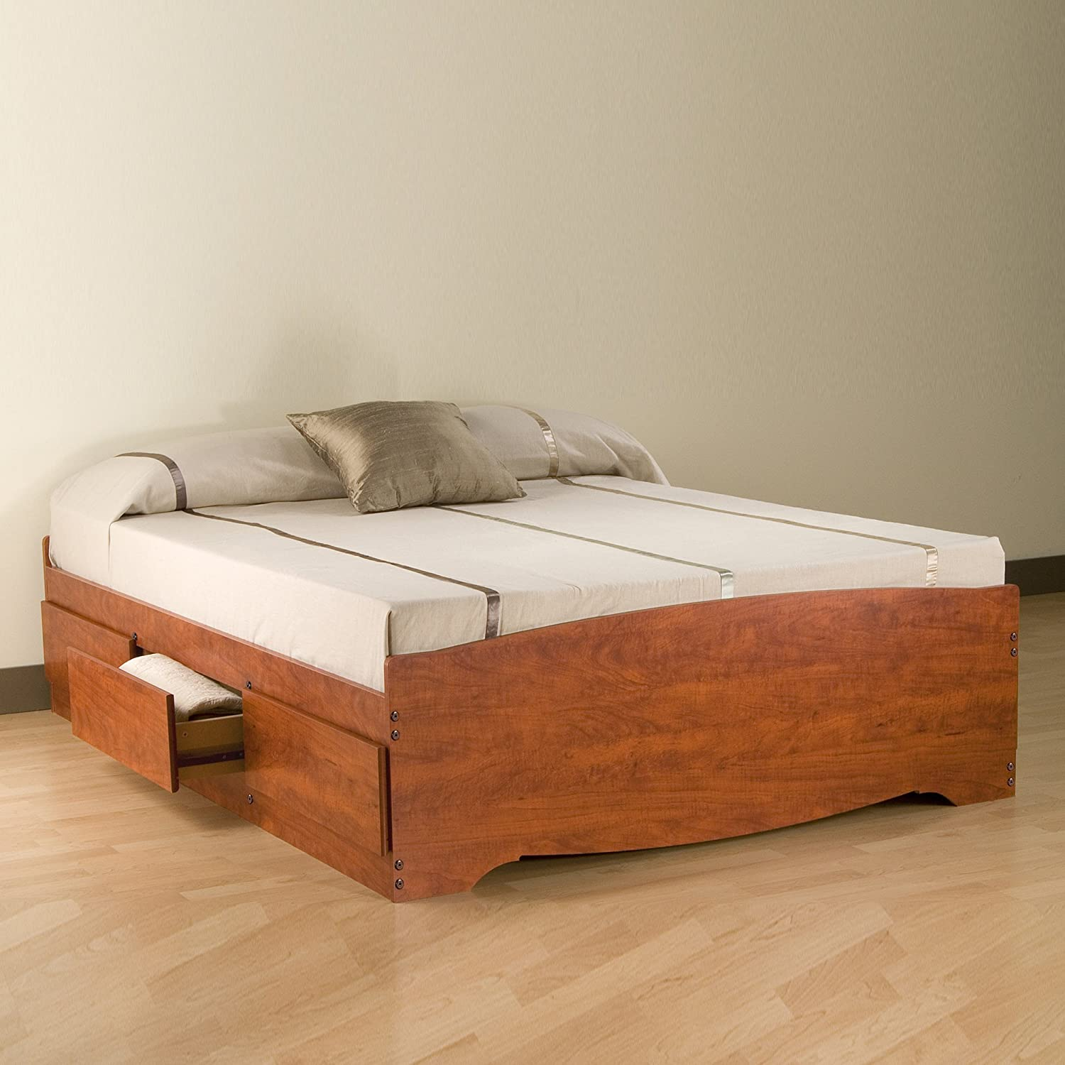 Cherry Queen Mateu0027s Platform Storage Bed With 6 Drawers