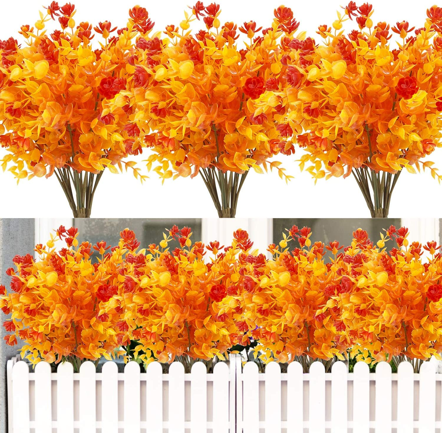 8PCS Artificial Flowers Outdoor UV Resistant Plants, 8 Branches Faux Plastic Corn-flower Greenery Shrubs Plants Indoor Outside Hanging Planter Kitchen Home Wedding Office Garden Decor (Gold Yellow)