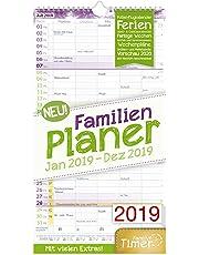 FamilienPlaner 2019 23x42cm, 5 Spalten, Wandkalender 12 Monate Jan-Dez 2019 - Wandplaner, Familienkalender, Ferientermine, viele Zusatzinfos