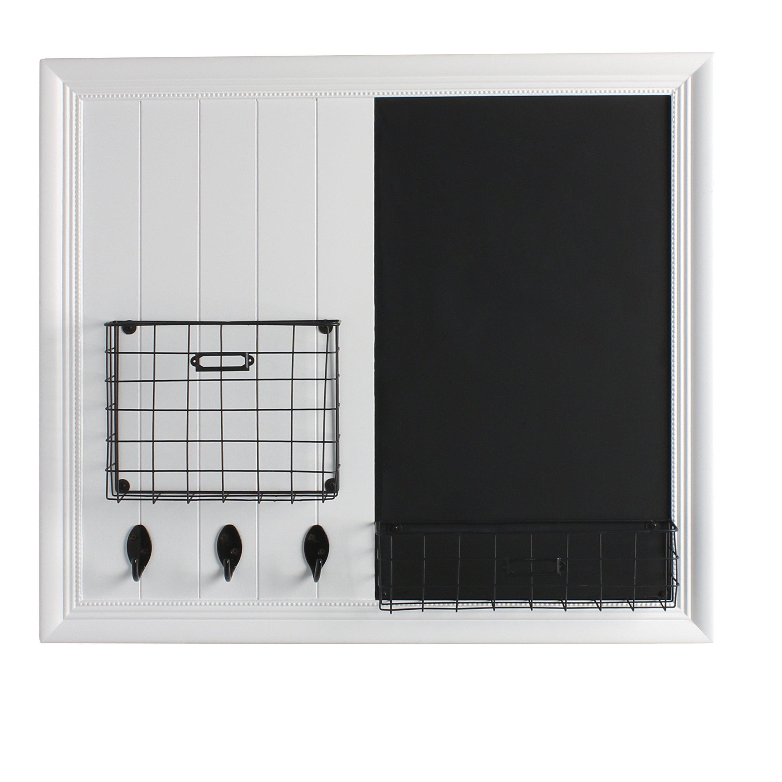 DesignOvation Darla Decorative Wood Home Organizer with Chalkboard, Wire Baskets, Key Hooks, White (209335)