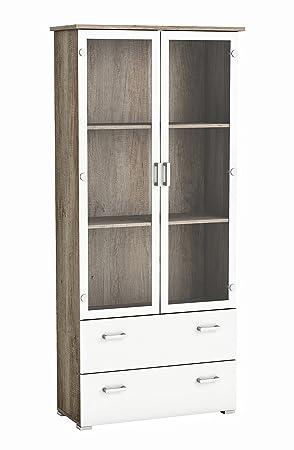 Demeyere Swift 2 Glass Door 2 Drawer Display Cabinet Monument Oak
