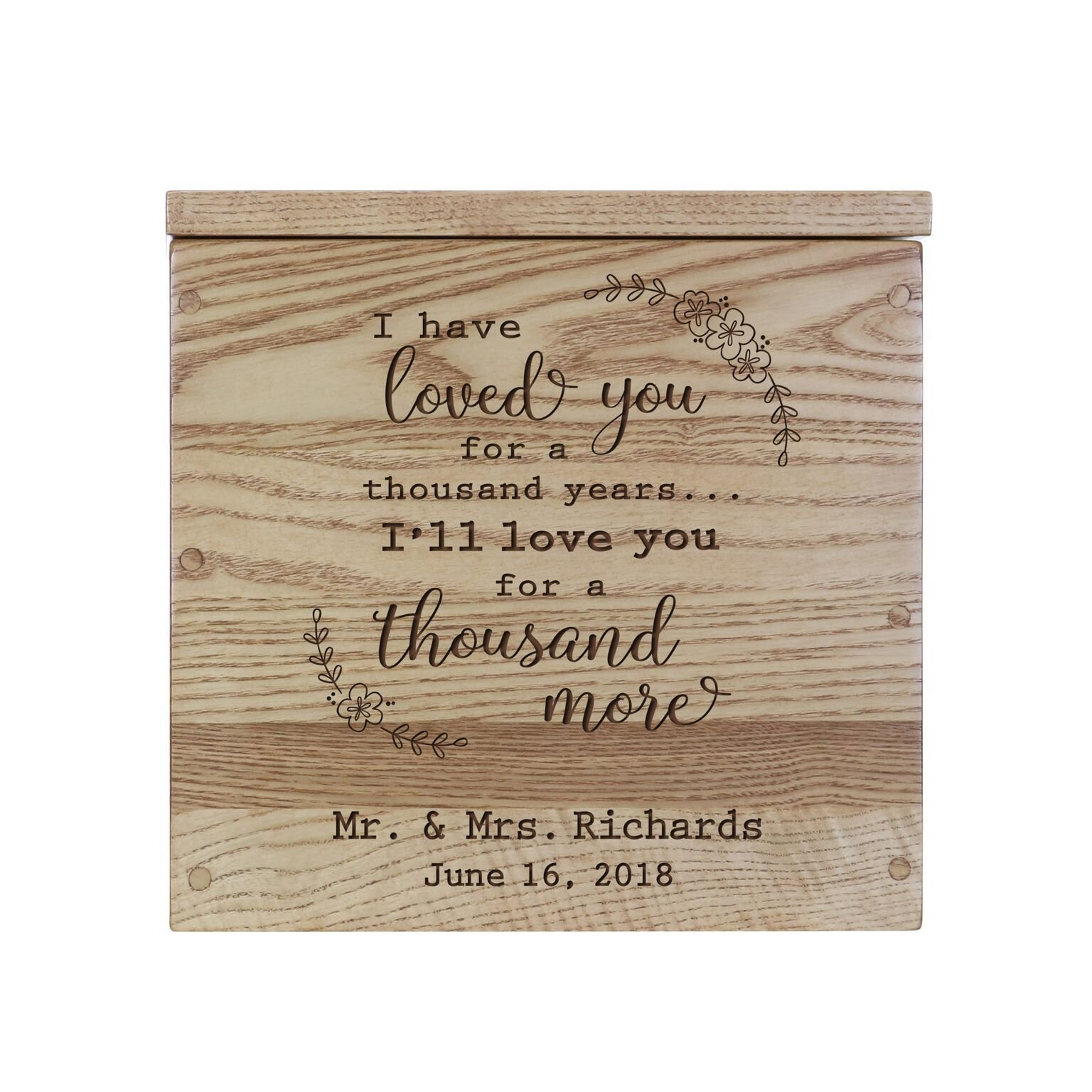 """LifeSong Milestones Personalized I Have Loved You Rustic Wooden Wedding Card Box Custom Card Holder with Lift Top for Newlyweds Couples Reception 11.5"""" L x 12.25"""" W (Hickory)"""