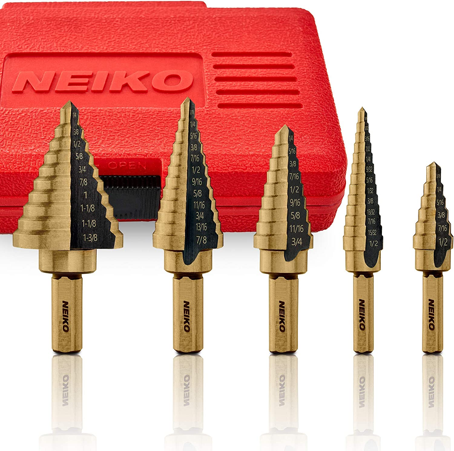 9 PC Neiko Step Bit Set 93 Sizes SAE Standard