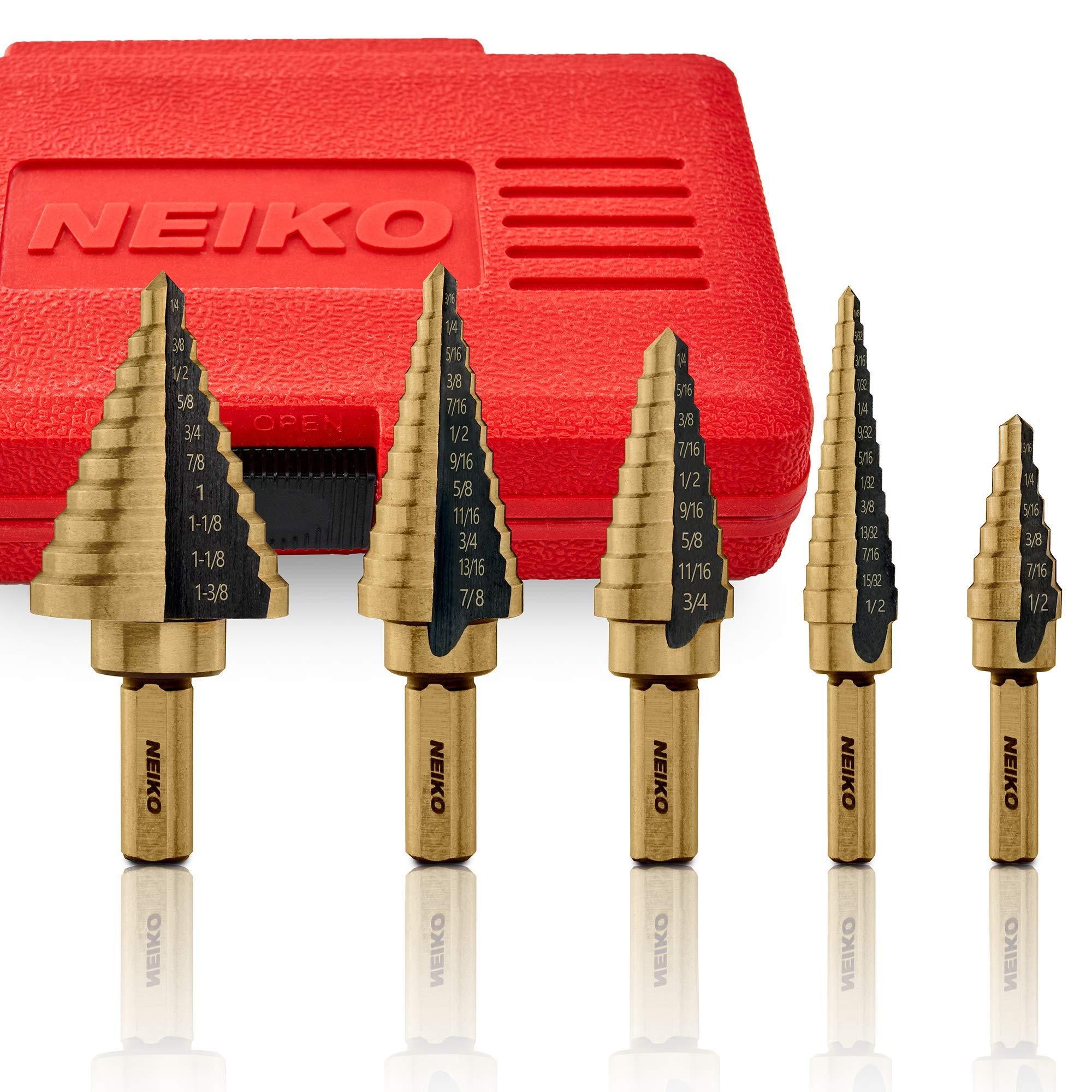 amoolo Titanium Step Drill Bit Set Multiple Hole Drilling Cone Bit Set Wood Total 50 Sizes HSS Unibit with Double Cutting Blades for Metal 5Pcs Plastic