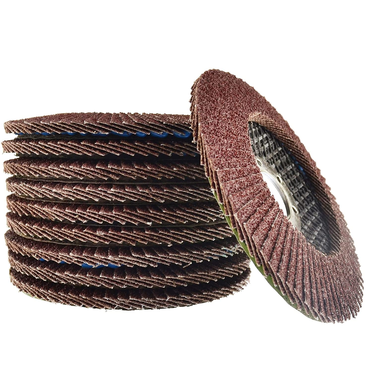 10 x Flap Discs 60 Grit Angle Grinder 4.5' (115mm) Flat Sanding Grinding AT929 AB Tools