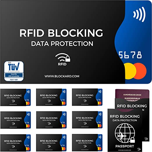 RFID Blocking NFC Envoltura Protectora (12 Piezas) de Tarjeta de crédito, carnet de Identidad, Carta bancomat, Pasaporte - 100% de protección contra ...