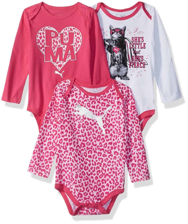 c498004c6b621 PUMA Baby-Girls Girls' Three Pack Bodysuit Set T-Shirt Set
