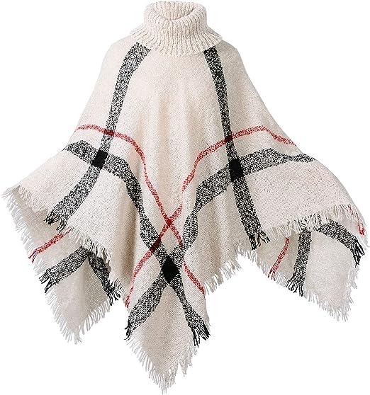 Womens Three Button Poncho with Leaf Ladies Wrap Shawl Jumper Cardigan Fancy Top