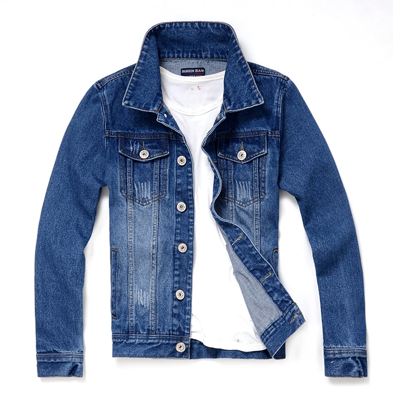 Menschwear Men's Long Sleeved Denim Jacket Stonewashed Trucker style