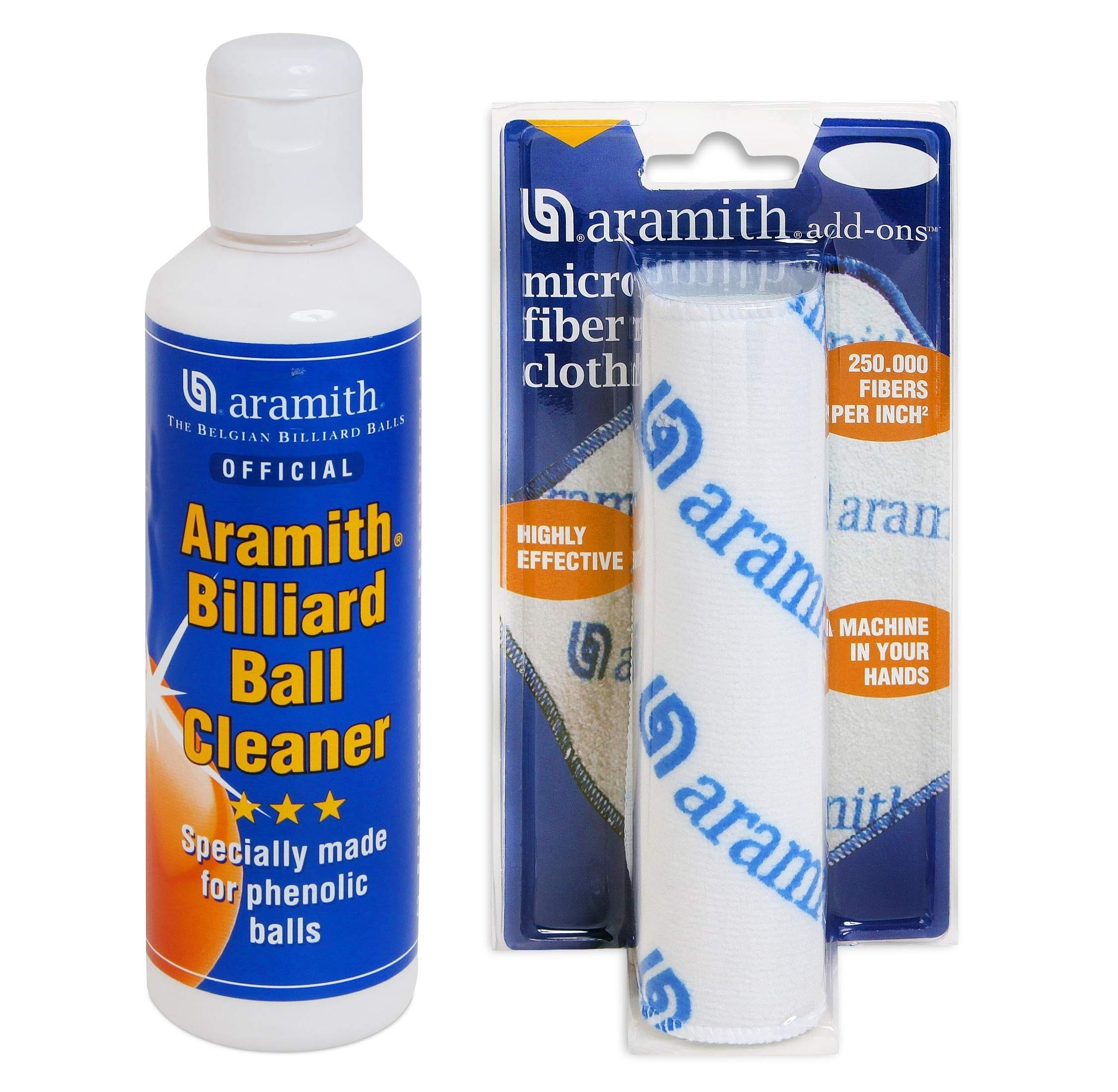 Aramith Phenolic Billiard Ball Care Cue Ball Cleaner and Restorer for Cleaning Restoring Polishing and Caring for Pool Balls (Billiard Ball Cleaner and Cloth)