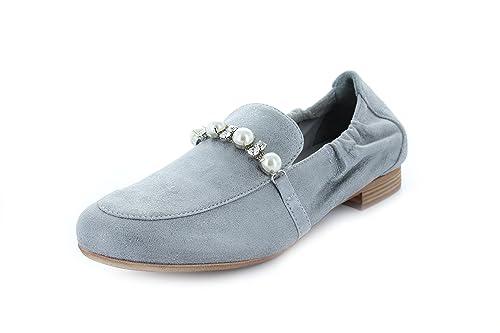 Maripé Mocasines de Piel Para Mujer Gris Aluminio: Amazon.es: Zapatos y complementos