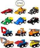 Pull Back Cars,Mini Toy Cars, 3 4 5 Year Old Boy Toys Car,WINONE 12 Pack Assorted Construction Vehicles and Racing Cars,Kids Toddler Truck Toy for Birthday Party Supplies,Holiday Gifts