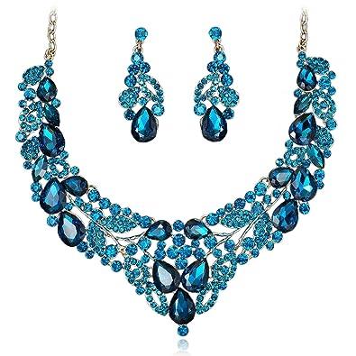 d4bf9d17b Amazon.com: VF VenFashion Navy Blue Rhinestone Alloy Earrings Collar ...