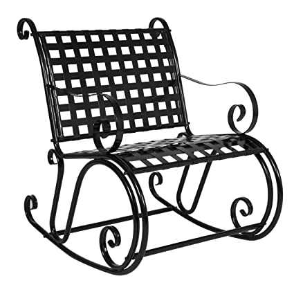 Best Choice Products Patio Iron Scroll Rocker Porch Rocking Chair Outdoor  Seat Antique Black - Amazon.com : Best Choice Products Patio Iron Scroll Rocker Porch