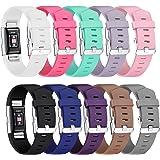 Correa Fitbit Charge 2, Mornex Clásico 10 paquetes de recambio de pulseras ajustables, pulseras deportivas TPU con cierre de metal para Fitbit Charge2 Pequeña y Grande