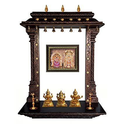 Charmant MANTRA Wall Mounting Pooja Temple / Mandir / Mandapa / Mandapam With Gold  Plated Bronze Accessories