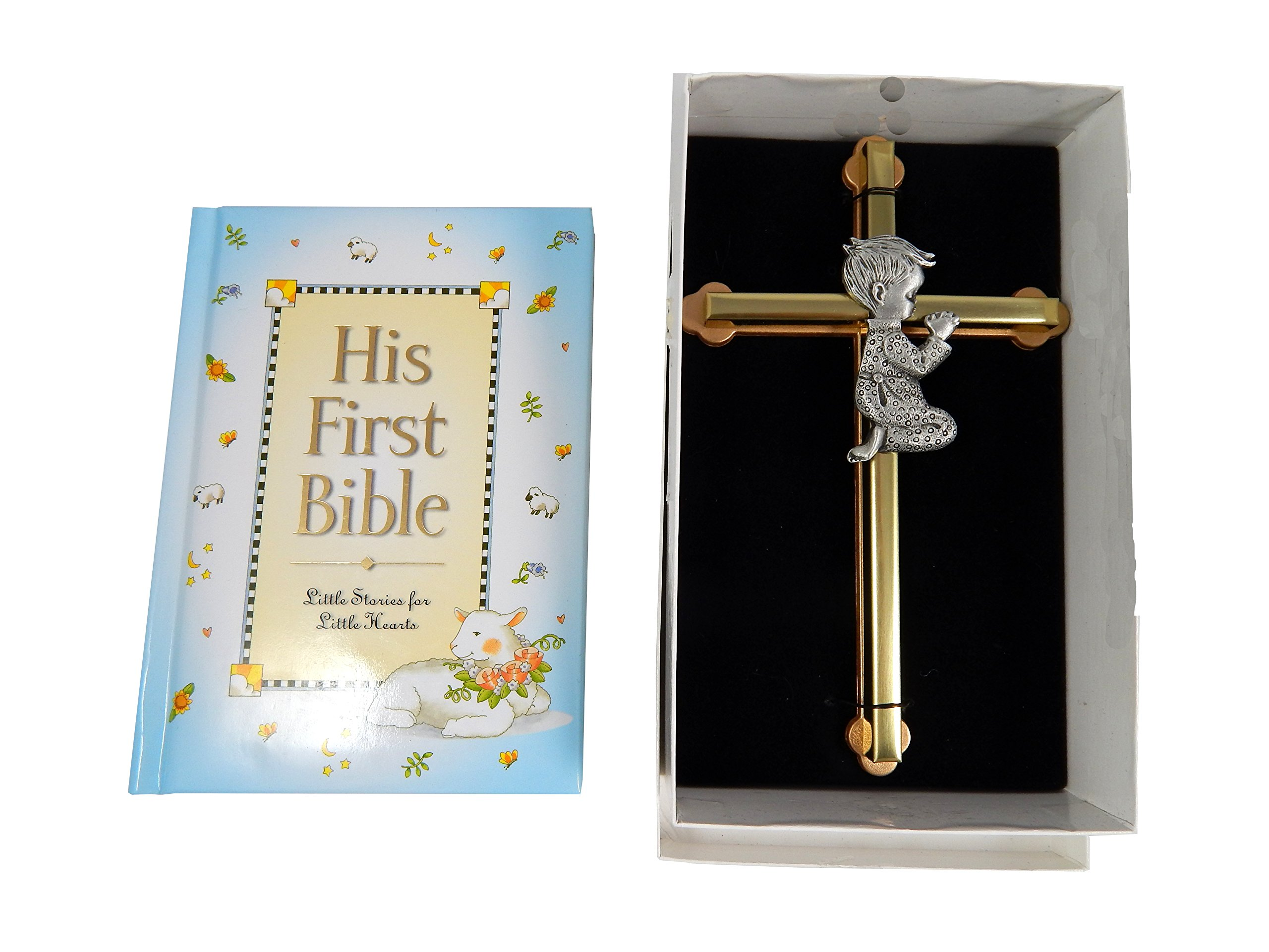 Baby Boy First Bible and 6'' Praying Baby Boy Wall Cross by CA