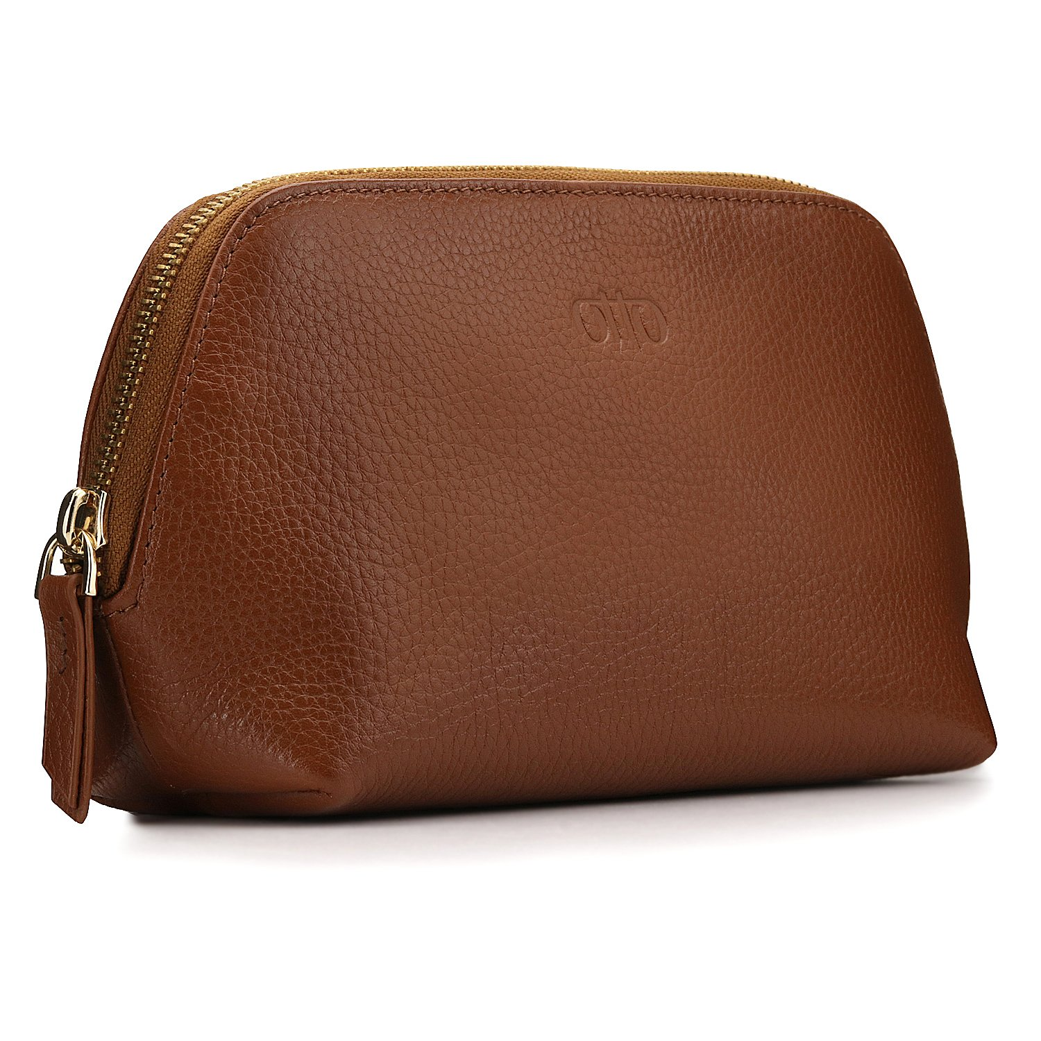 OTTO Genuine Leather Makeup Bag Cosmetic Pouch Travel Organizer Toiletry Clutch (Light Brown) OTTO Leather OTTO193