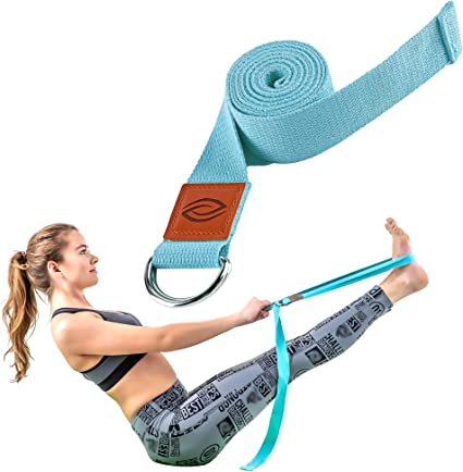 Polyester Cotton Material Tension Band Yoga Pull Strap Back Trainer Yoga Stretch Strap for Exercise Waist for Pilates Exercises Light Purple
