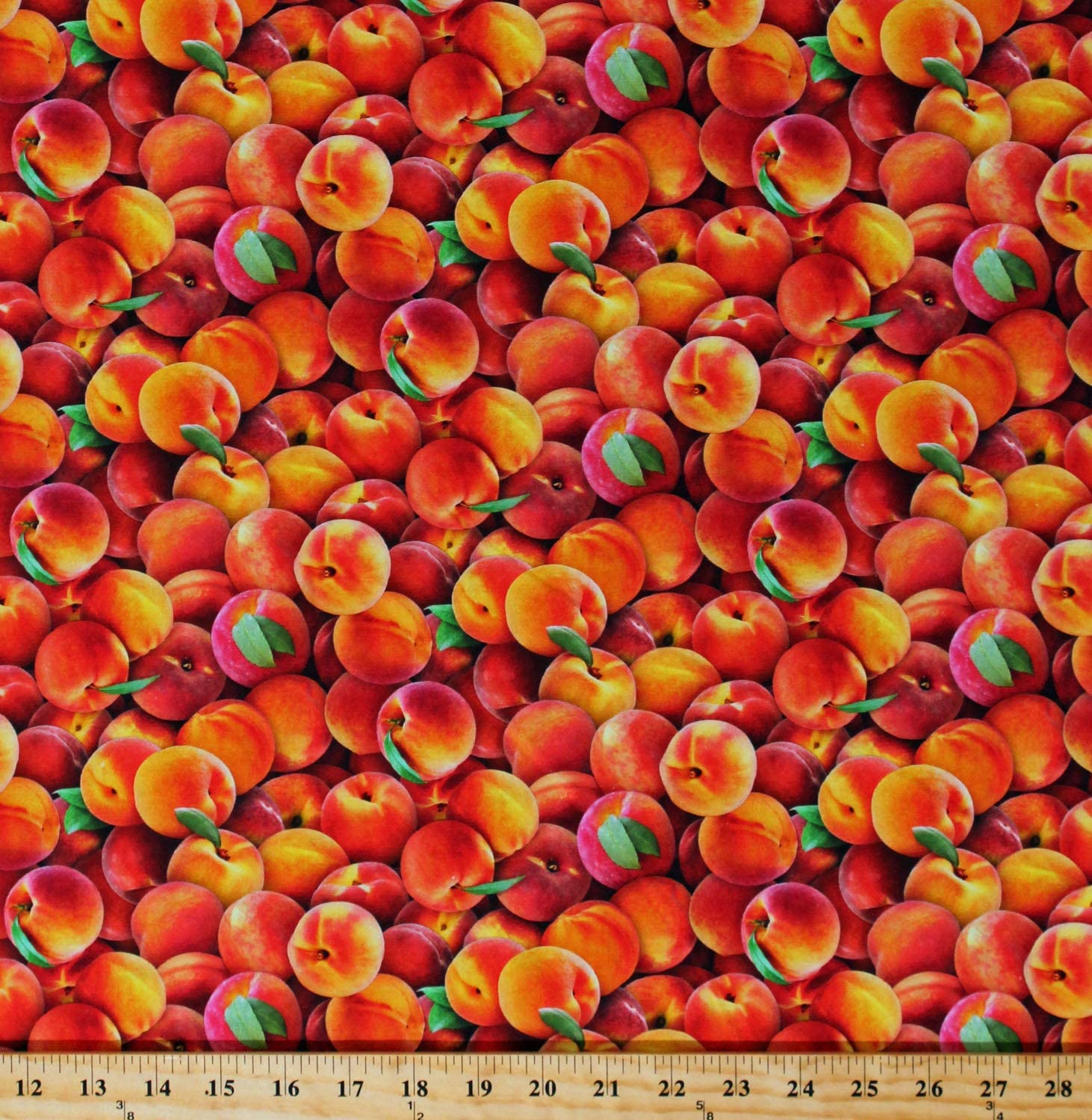 Cotton Peaches Harvest Fruits Allover Food Festival Summer Cotton Fabric Print by The Yard (D465.36)