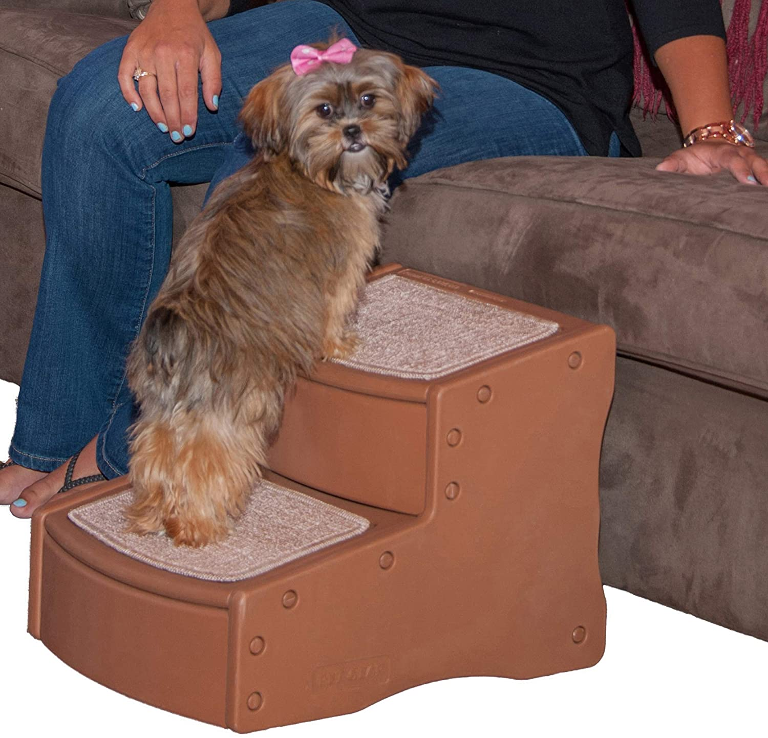 Pet Gear Easy Step II Pet Stairs, 2 Step for Cats/Dogs up to 75-pounds, Portable, Removable Washable Carpet Tread