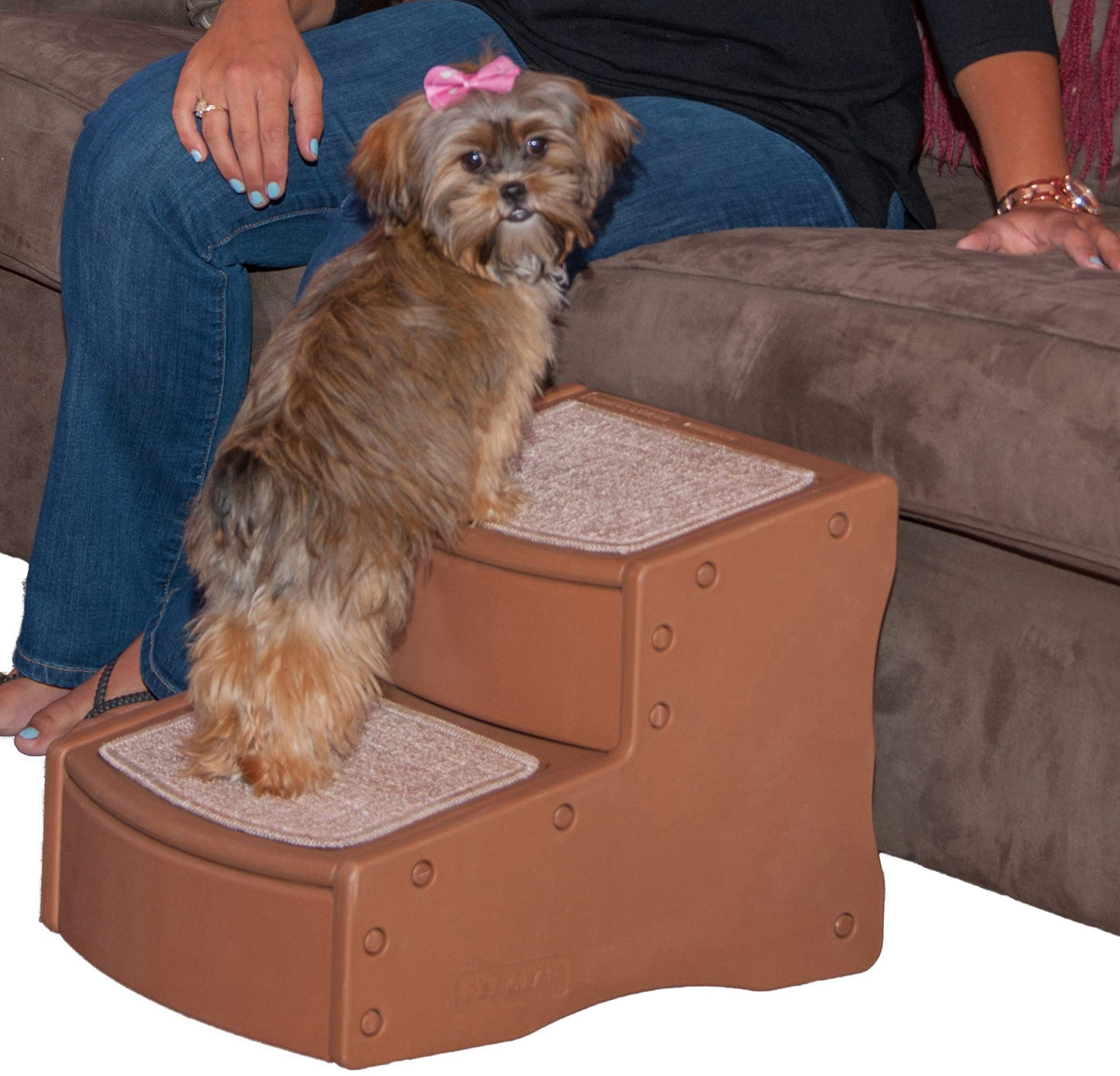 Pet Gear Easy Step II Pet Stairs, 2 Step for Cats/Dogs up to 75-pounds, Portable, Removable Washable Carpet Tread, Light Cocoa by Pet Gear
