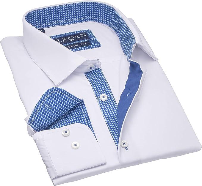 Men Dress Shirt Long Sleeve Contrast Spread Collar Cotton Blend Business Shirts
