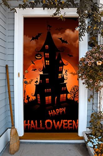 Amazon Com Haunted House Halloween Front Door Cover Decor Happy