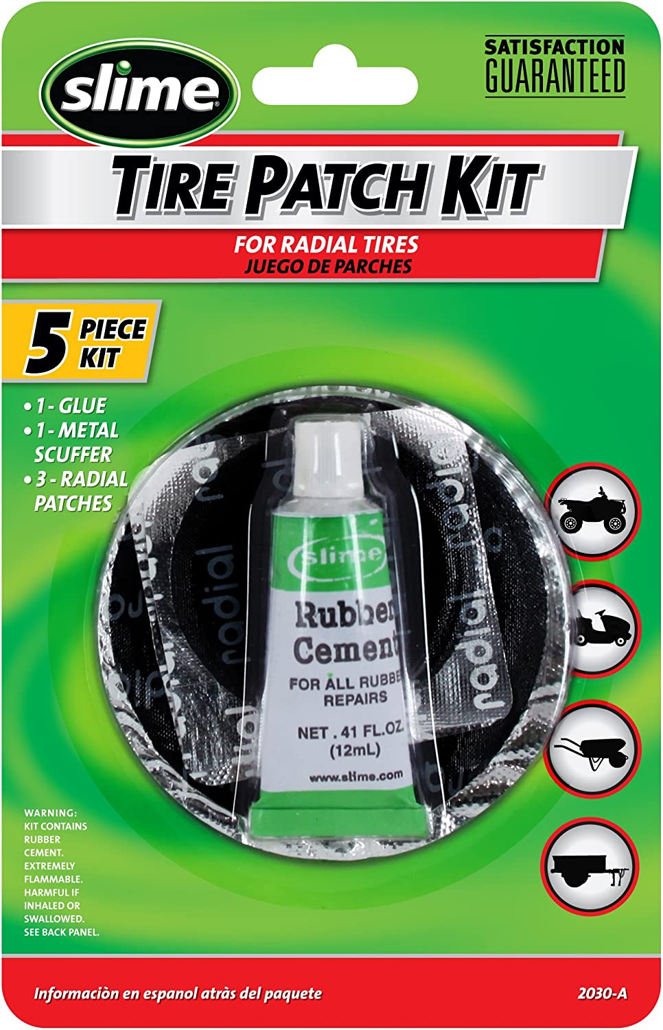 Slime 7 Piece Multipurpose Rubber Tube Tire Repair Patch Kit 1022-A