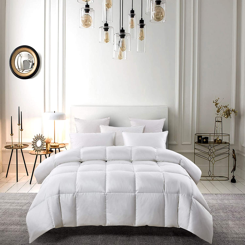 Serta 300 Thread Count White Down Fiber Light Warmth Comforter, King