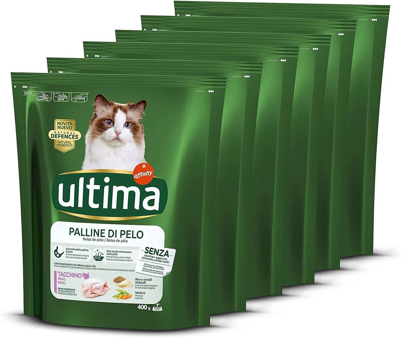 ultima Pienso para Gatos para Prevenir Bolas de Pelo con Pavo, Pack de 6 x 400 gr - Total: 2.4 kg: Amazon.es: Productos para mascotas