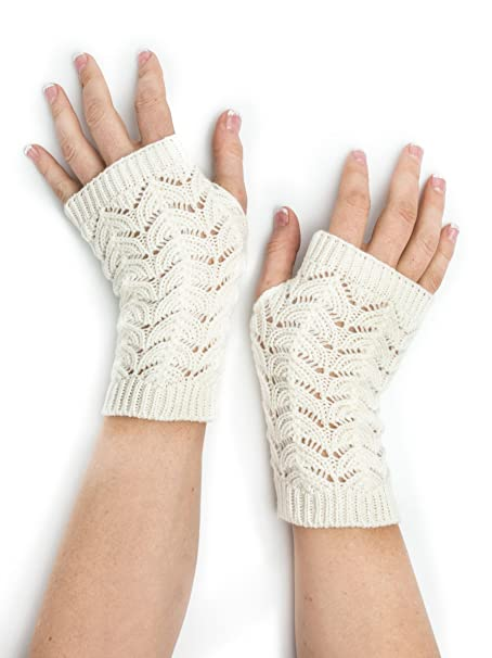 Maeve Scallop Open Lace Crochet Pattern Fingerless Gloves ...
