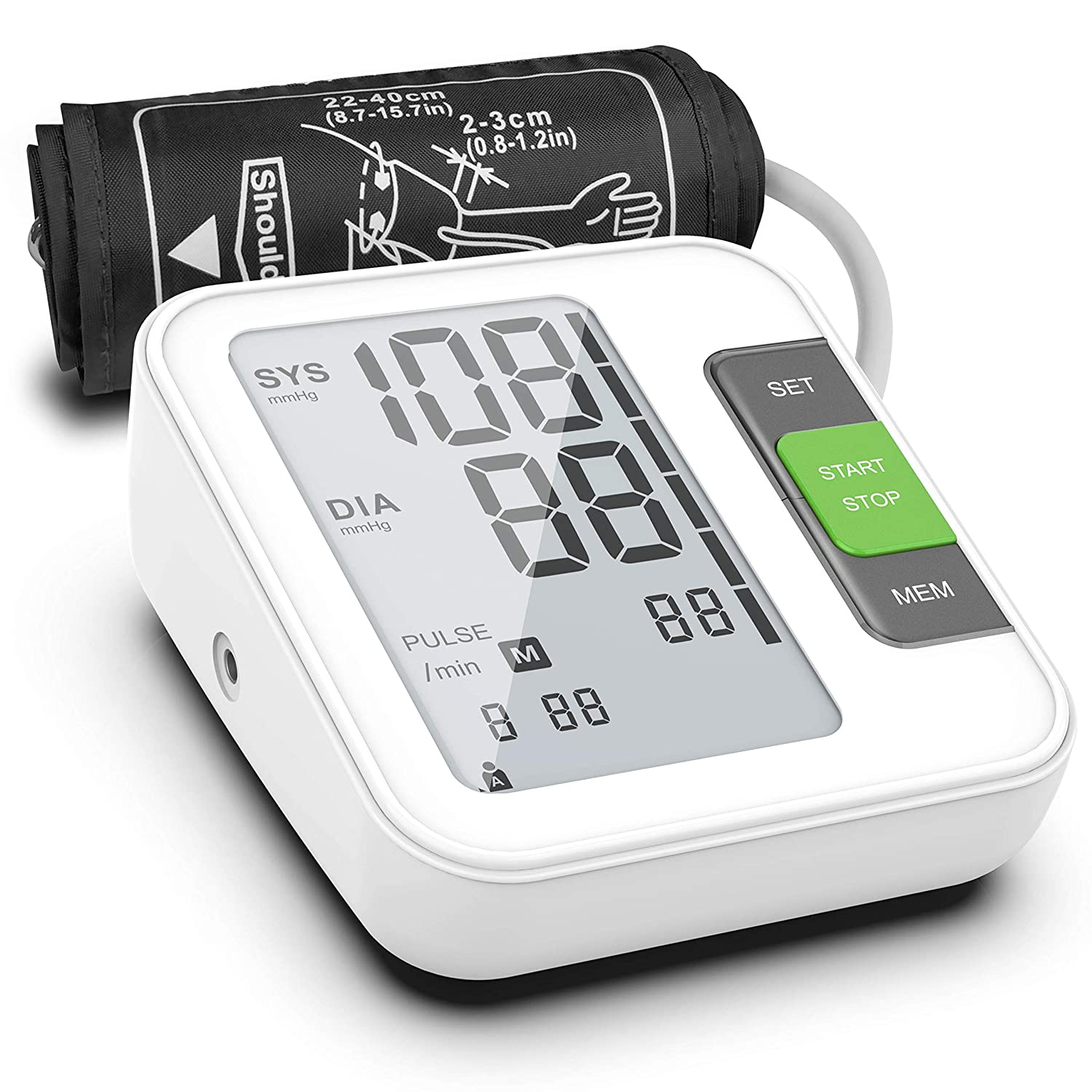 2019 Latest Blood Pressure Monitor, Fully Automatic Upper Arm Digital BP Machine with Cuff 8.7 – 15.7 , 240 Memory, 2 Users, LCD, Intelligent Broadcast – FDA Approved