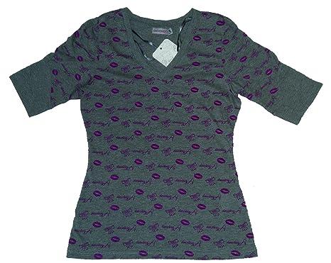 Damen Nachtwäsche Pyjama T-Shirt mit Kuss Motive - Weiß, Lila, Grau, Schwarz  Größe: S - XL: Amazon.de: Bekleidung