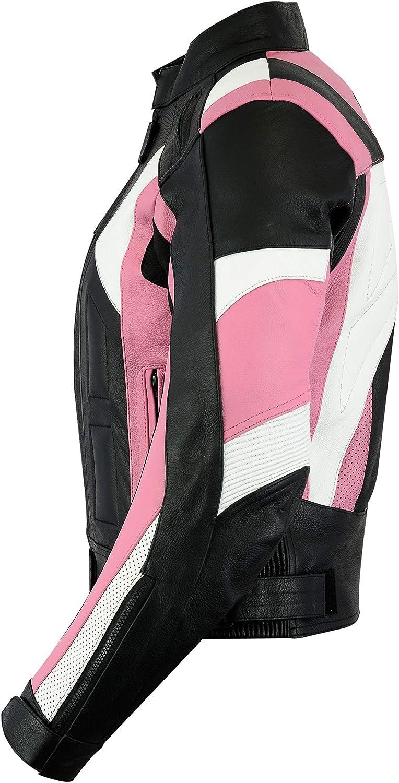 All Sizes Ladies Texpeed Pink /& Black Armoured Leather Motorcycle//Motorbike Jacket