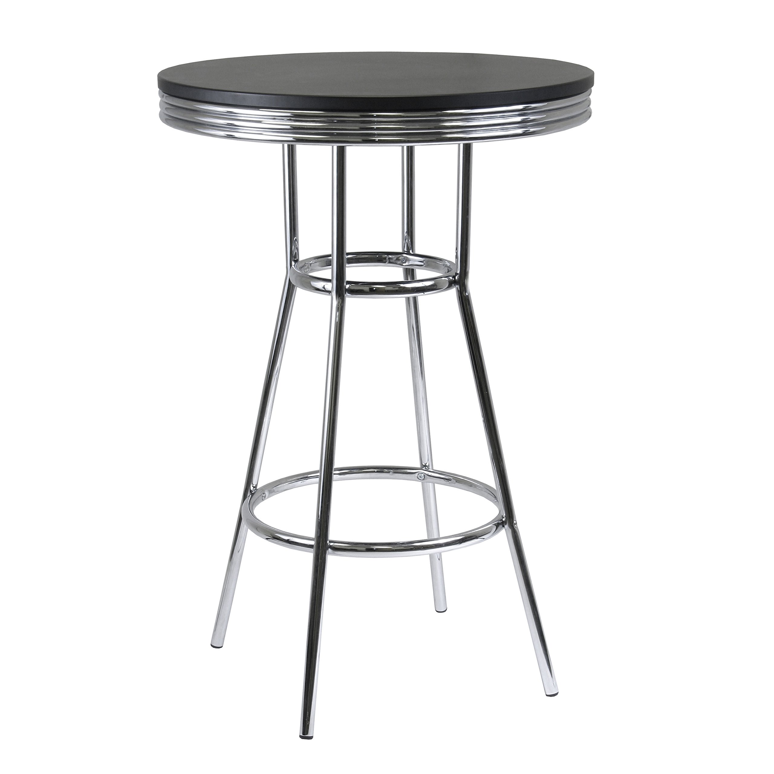 Winsome Wood Summit Pub Table with Metal Legs, MDF Black Top
