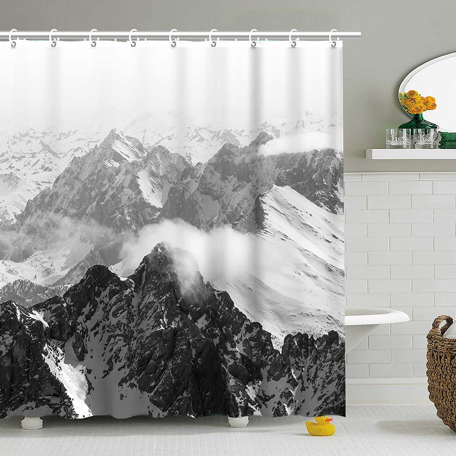 Stacy Fay Shower Curtain Moody Snow Capped Mountain Peaks Nature Photography Home Decor Cliff Outdoor Idyllic Photo Art, Fabric Bathroom Decor Set with Hooks,72 X 72 Inch