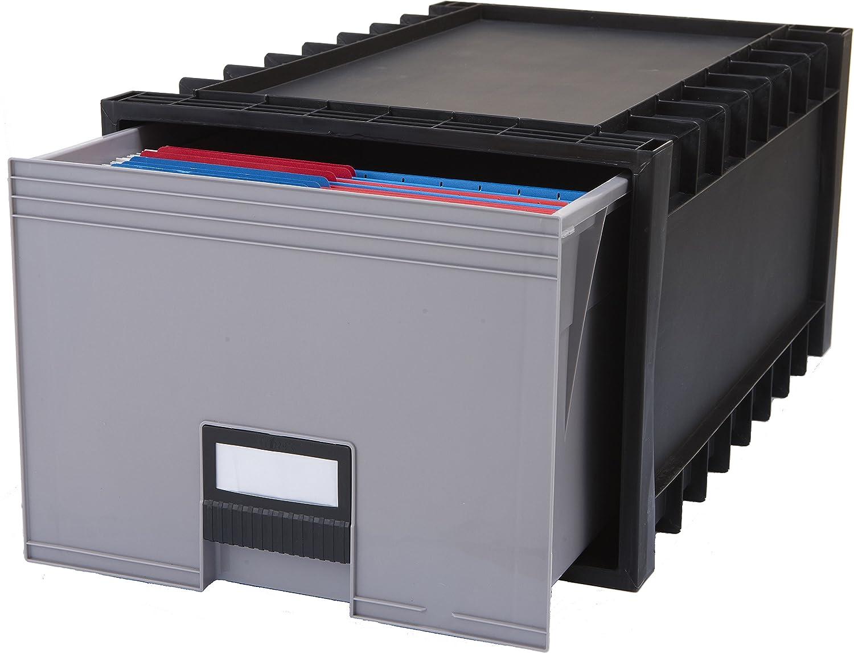 Storex Plastic Archive Storage Box, Letter/Legal, 24-Inch Drawer, Black (61106U01C)